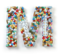 Letter M. Set of alphabet of medicine pills, capsules, tablets a