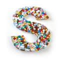 Letter S. Set of alphabet of medicine pills, capsules, tablets a