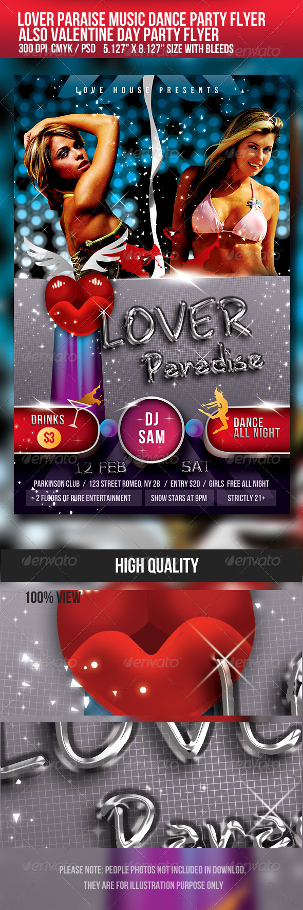 Lover Paradise/Valentine Music Dance Party Flyer - Clubs & Parties Events