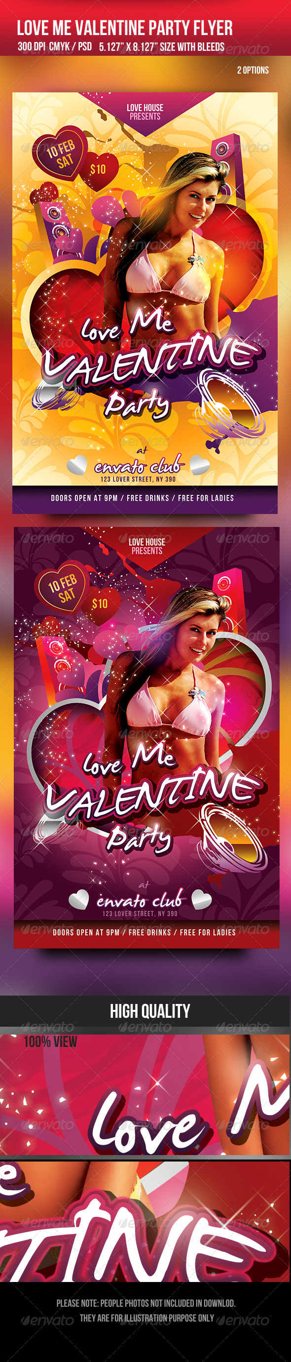 Love me Valentine Day Party Flyer - Clubs & Parties Events