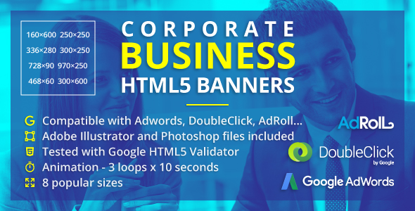 Corporate Business enterprise Banners – Animated HTML5 Banner Advertisements (GWD) (Ad Templates)