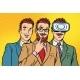 Band Trendy Retro Businessmen in VR Glasses