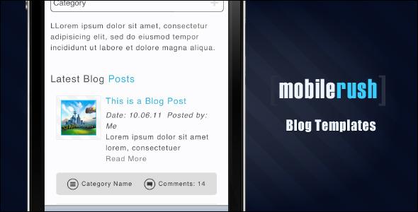 MobileRush Liquid Mobile Site Template - 6 Colors