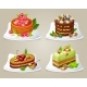 Colorful Decorative Cakes On Plates Set