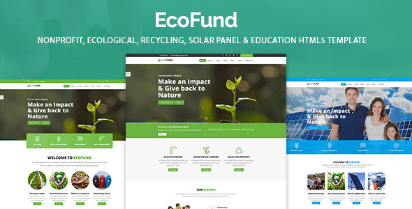 EcoFund - Nonprofit Environment Recyling Solar HTML5 Template