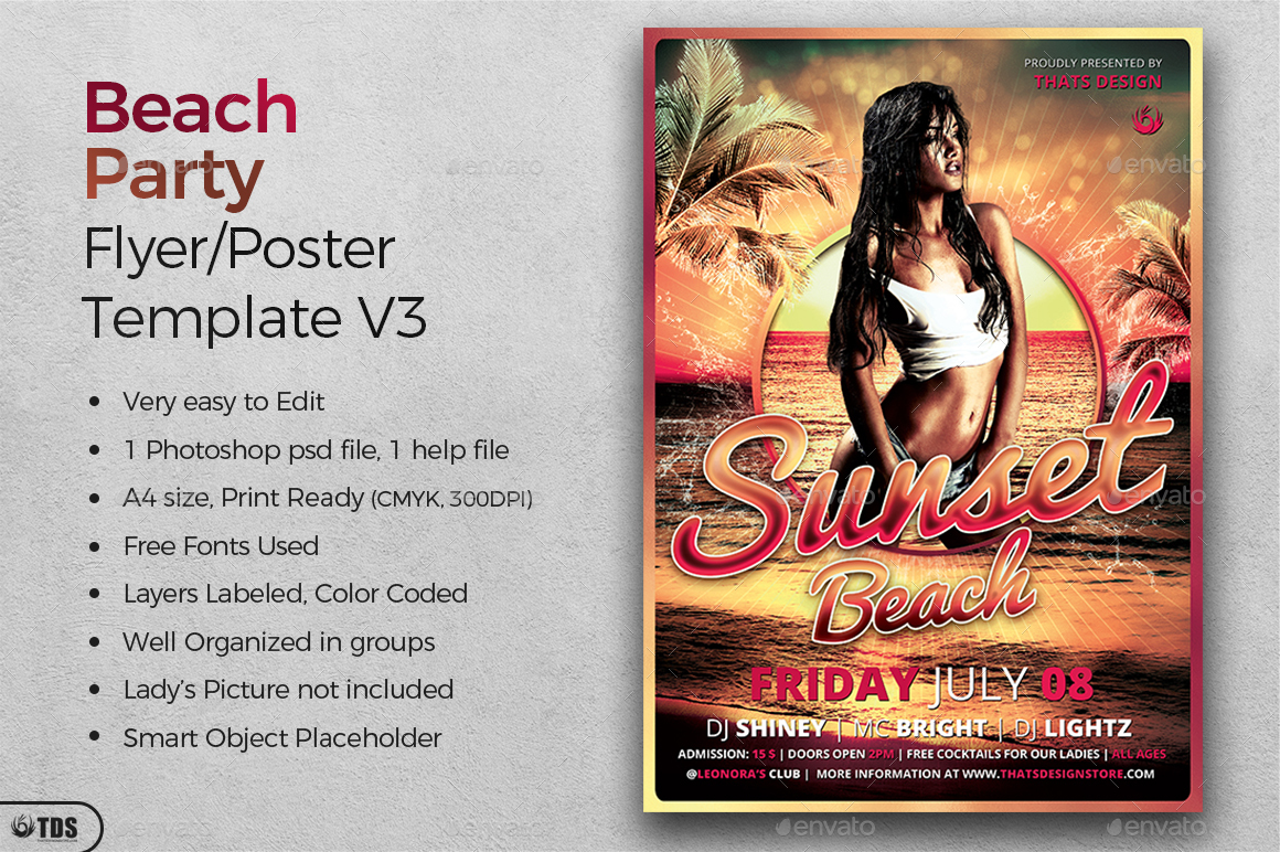 Beach Party Flyer Template V3 by lou606 – Beach Party Flyer Template