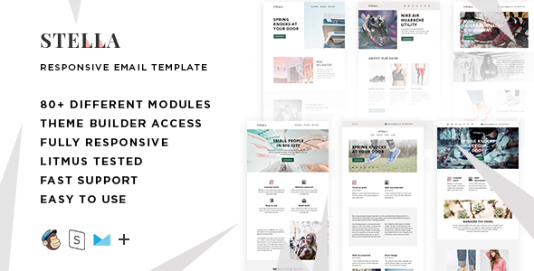 Stella – 80+ Modules - Responsive Email + StampReady Builder & Mailchimp Editor