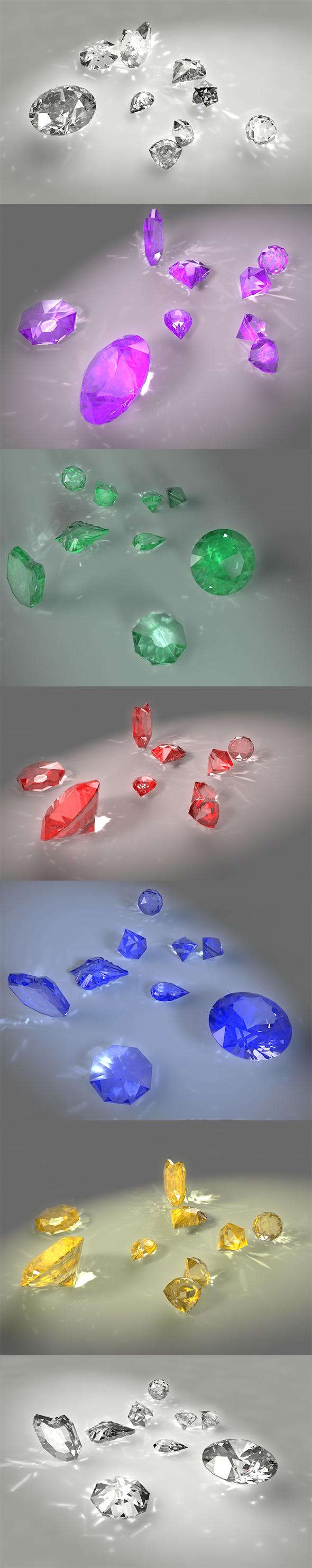 diamond emerald ruby sapphire topaz amethyst  jewelry jewels gem caustics dispersion - 3DOcean Item for Sale