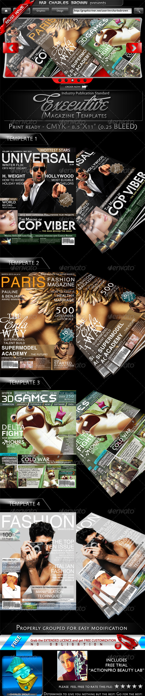 4 Executive Magazine Templates