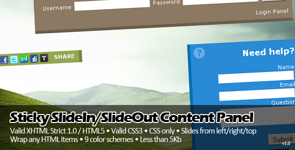 Sticky SlideIn SlideOut Content Panel