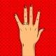 Wedding Golden Ring on Hand Pop Art Vector