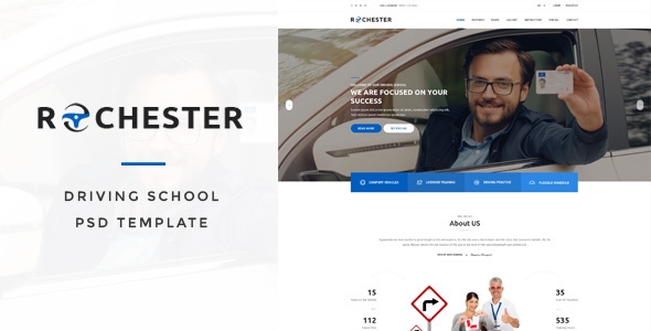 Rochester - Driving School PSD Template