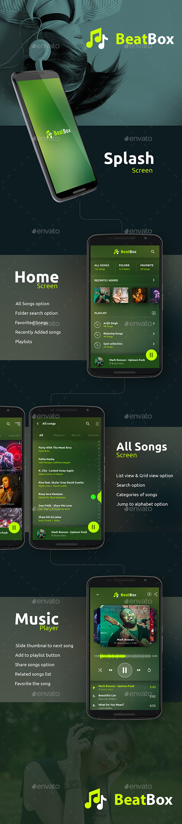 Music / Audio Android + iOS Player (User Interfaces)
