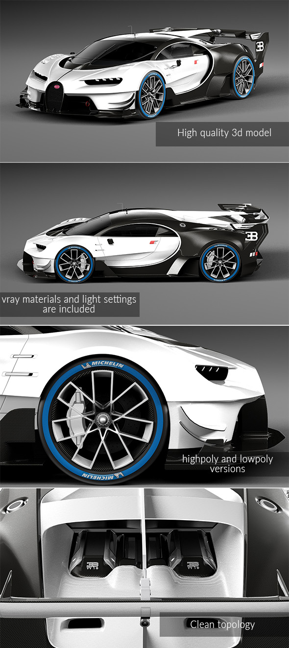 Bugatti Chiron race car - 3DOcean Item for Sale