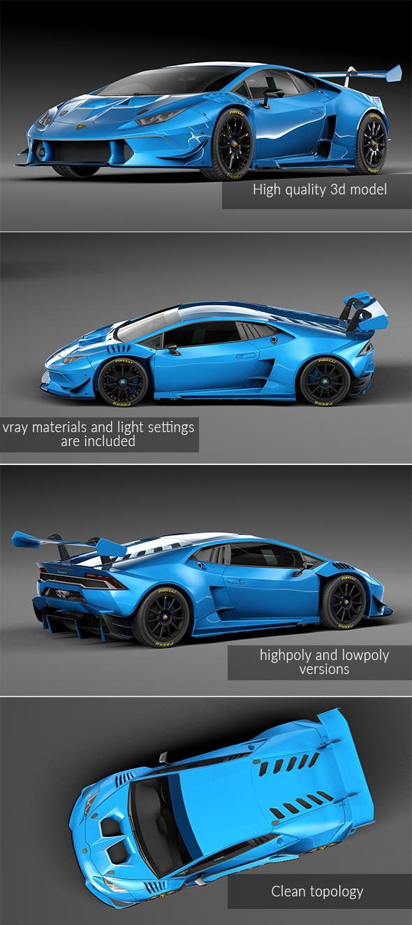Lamborghini Huracan racing car - 3DOcean Item for Sale