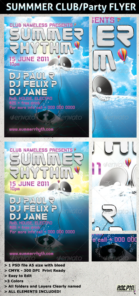 GraphicRiver SUMMER PARTY and CLUB Flyer Template 226839