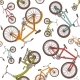 Colorful Cartoon Bicycles Seamless Pattern