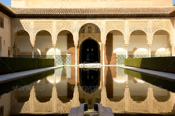 Patio of Arrayanes of Alhambra, Granada, Spain - Stock Photo - Images