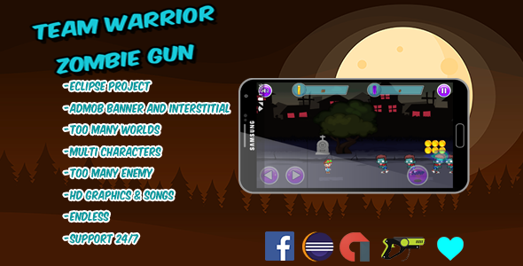 Team Warrior - Zombie Gun -Multi worlds & characters –Eclipse project with ADMOB - CodeCanyon Item for Sale