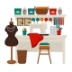 Atelier Studio Workplace Colorful Vector Flat