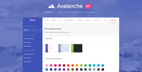 Avalanche – Material Design phpBB3 ACP Theme Extension (Add-ons) images