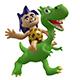 Cartoon Savage Boy Rides on a Cute Dinosaur