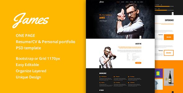 James Resume/CV & Personal portfolio PSD Template
