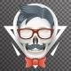 Human Skull Geek Hipster Fashion Poster Mustache