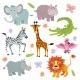 Cartoon African Savanna Animals Vector Set