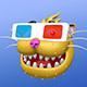 Cartoon Smiling Cat Head in 3D Glasses