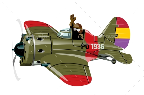 Cartoon Military Retro Fighter