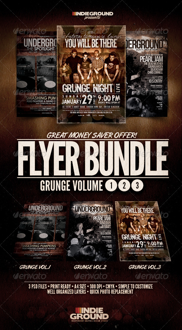 Grunge Flyer/Poster Bundle Vol. 1-3 - Concerts Events