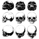 Realistic Horror Detalied Graphic Human Skulls Set