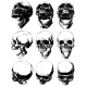 Realistic Detailed Graphic Skulls Vector Set