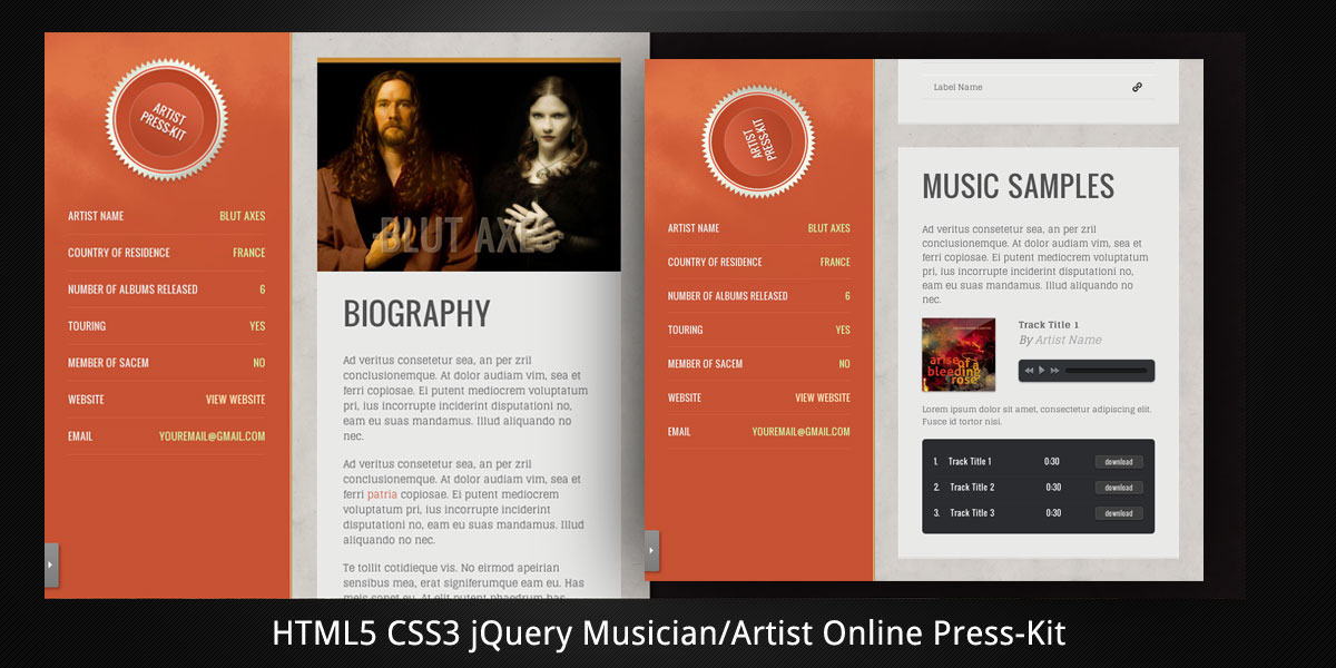 Musician/Artist HTML5 Online Press-Kit