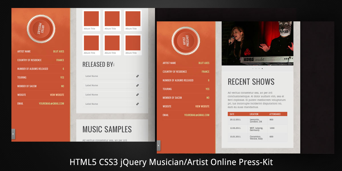 MusicianArtist HTML5 Online PressKit by virtuti – Press Kit Template