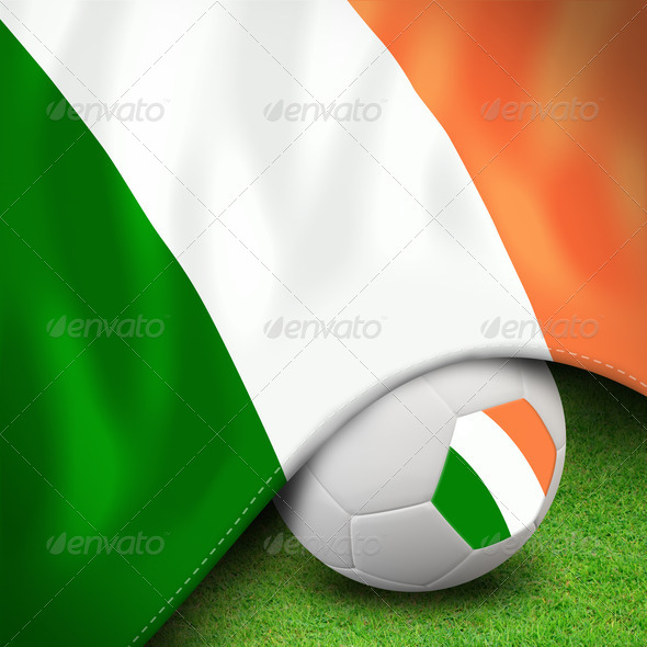 Soccer ball and flag euro Ireland - Stock Photo - Images