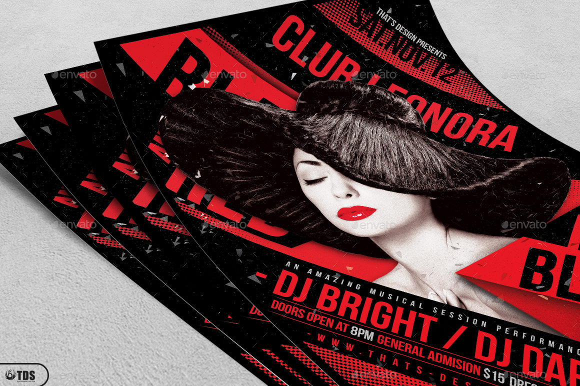 Black and Red Party Flyer Template V1 by lou606 – Black Flyer Template