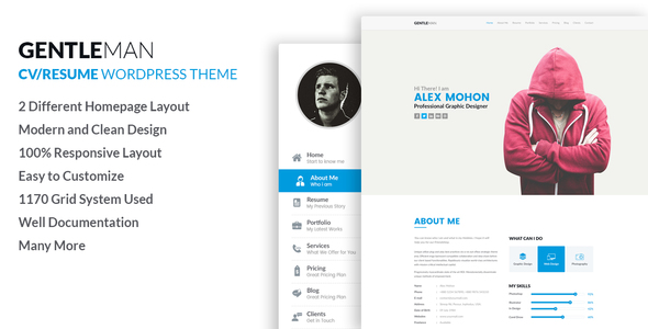 GentleMan- vCard &amp CV Resume WordPress Theme (Portfolio)