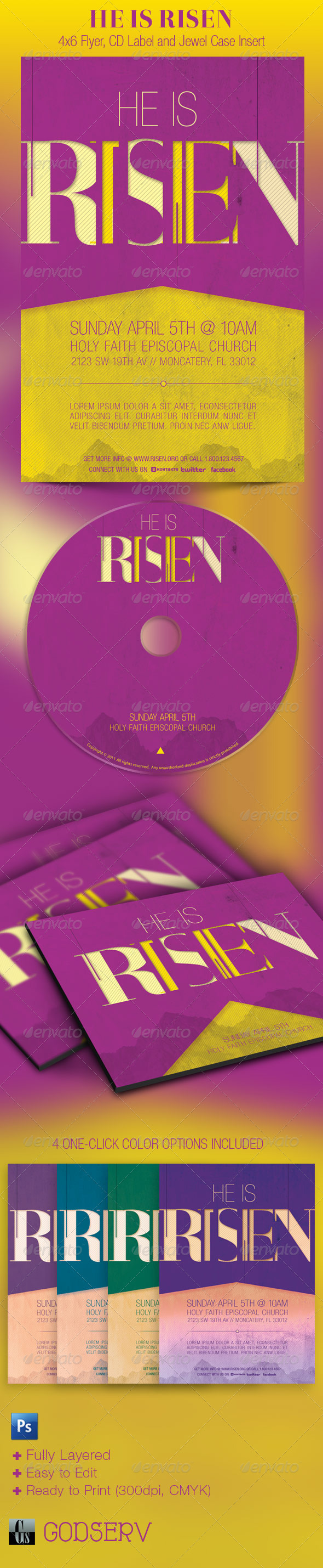 GraphicRiver He Is Risen Church Flyer and CD Template 1947156