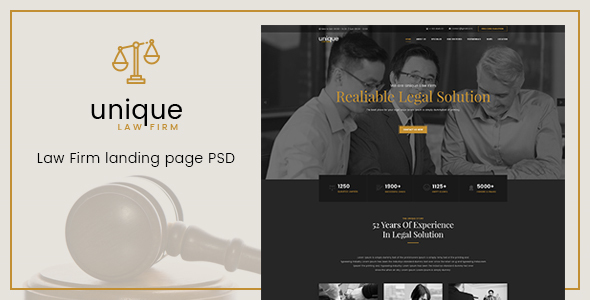 Unique - Law Firm Landing Page PSD Template