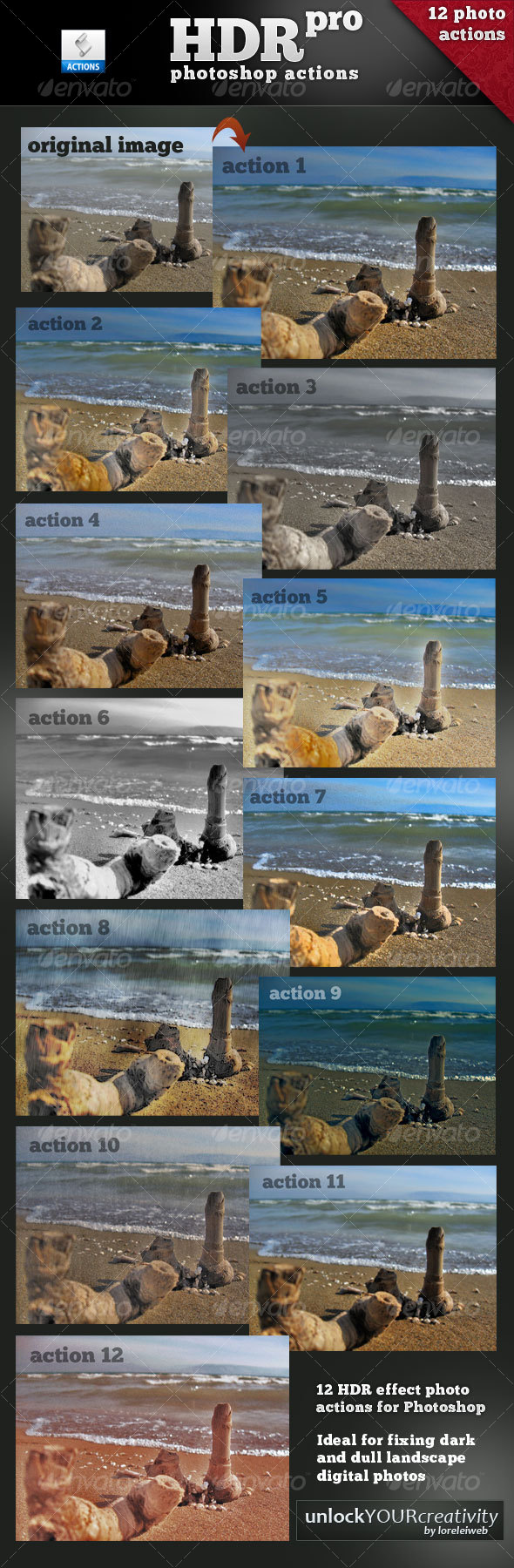 12 HDR pro Actions - Photoshop Add-ons