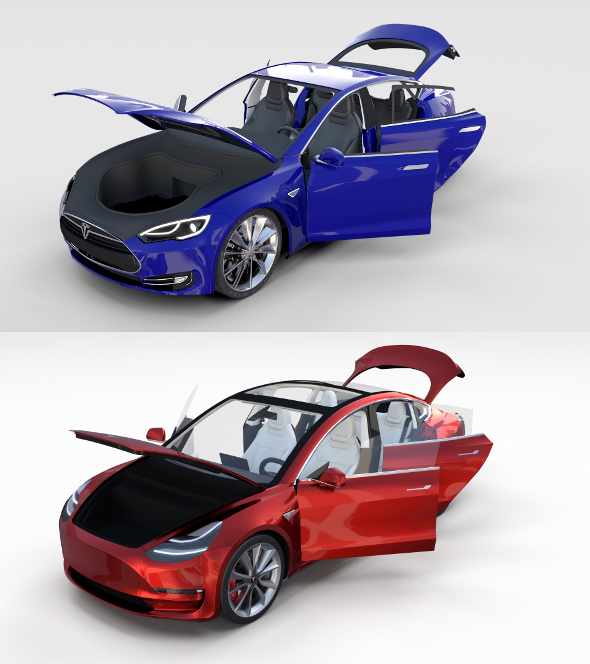 Tesla Model 3 and Model S with interior Pack