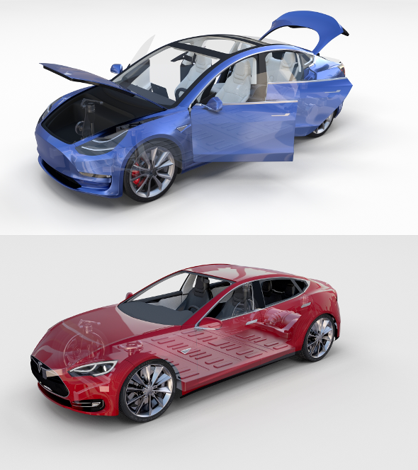 Tesla Model 3 and Model S with interior and chassis Pack