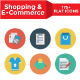Shopping and E-Commerce Flat Circle Icons
