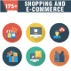 Shopping and E-Commerce Flat Circle with Shadow Icons