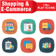 Shopping and E-Commerce Flat Square Icons