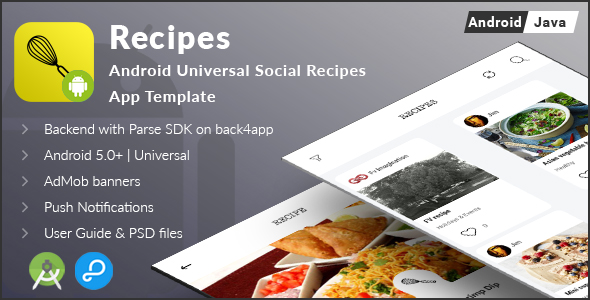 Recipes | Android Universal Social Recipes App Template (Complete Applications)