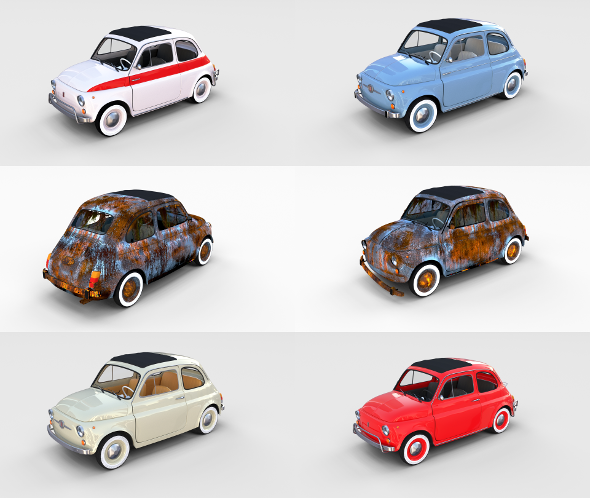 3DOcean Fiat 500 with interior Pack 19902737