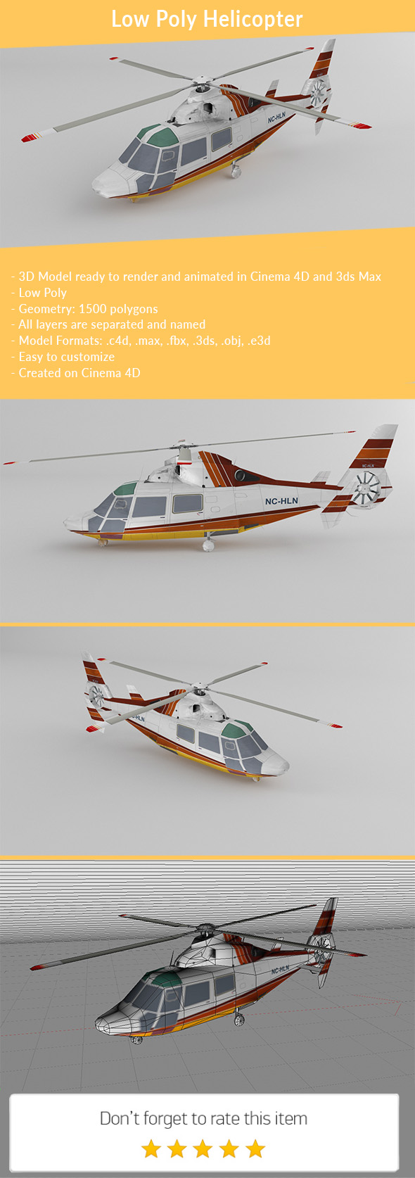 3DOcean Low poly Helicopter 19903194